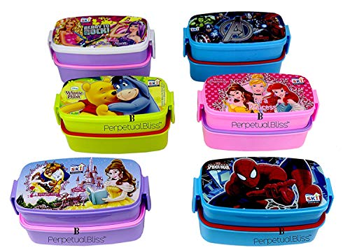 Perpetual Bliss (Pack of 12) Fancy Disney Theme Lunch Box Double Layer for Kids Return Gifts (Dimension) cm: 17x9x9