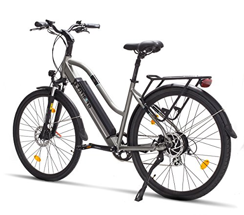 Fitifito CT28 Zoll Elektrofahrrad Citybike E-Bike Pedelec, 48V 250W Heckmotor, 13Ah 624W Lithium-Ionen USB 7 Gang Shimano Schaltung (grau)