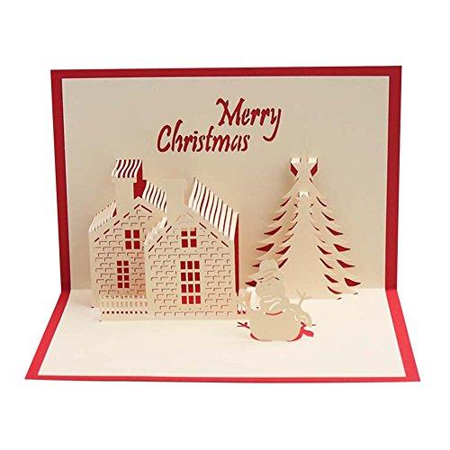 laemilia 10Stück Merry Christmas Karten 3D stehen Pop Up DIY Holiday Festive Randlocher Baum Design Geschenke für Familie Friends B (Diy Kostüm Party Einladungen)