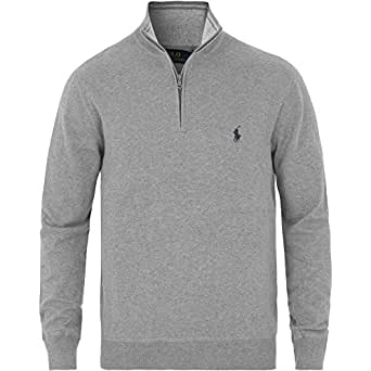 Ralph Lauren Pullover Zipper -Polo Golf- Pima Cotton Custom-Fit (M, Grau / Grey)