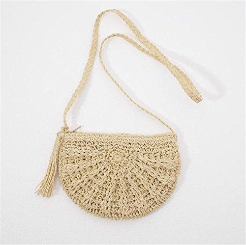 Amuele Stroh Umhängetasche Frauen Weave Schulter Rund Beach Geldbörse handtassels Handy Messenger Taschen, Beige, 22 cm