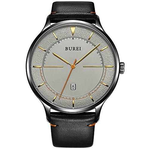 Burei Unisexe mince minimaliste poignet montres avec calendrier Cadran blanc Bande de cuir en verre minéral (gris foncé)