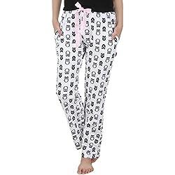Nite Flite Womens Cotton Pyjama ,Black, White ,Medium
