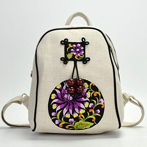 WOKJBGE Rattan Tasche Mädchen Rucksack Leinen Weiche Stickerei Hand Stricken Tasche Spezielle Rucksack Für Junge Studenten Rucksack lila -