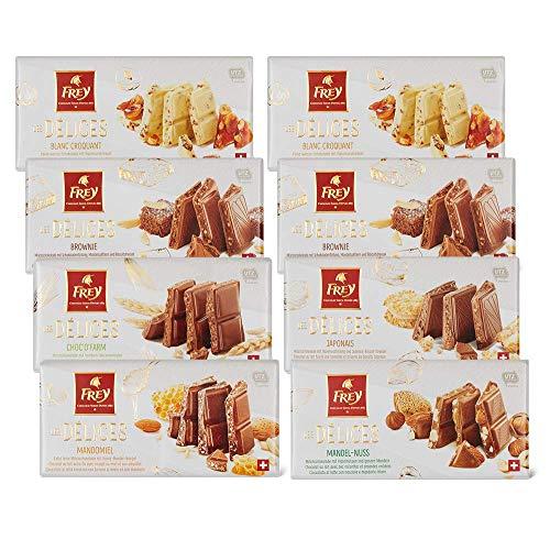 Frey 8x feinstere Schokoladentafeln aus 6 Sorten - Les Délices Mix - Schweizer Schokolade Tafel mit Nüssen / Füllung - Großpackung 8x 100 g - UTZ Zertifiziert - Schokoladengeschenkset