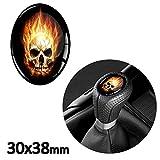 Skino 1x 3d silicona adhesivo del pomo del cambio Oval 30x 38mm Skull Flame Calavera Coche Tunung JDM S 24