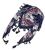 iZoeL Damen XXL Schal Tuch Halstuch mit Bommel Fransen Blütendruck Quadratisch Autumn winterschal 110 * 110cm Blau