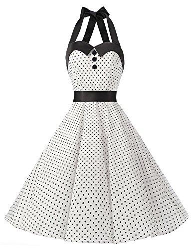Dressystar DS1957 Robe de Bal Polka Vintage pin-up à 'Audrey Hepburn' 50's 60's Rockabilly Halter,Dos Nu, Blanc à Pois XL