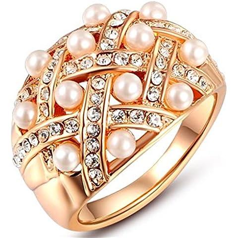 Da donna Bling placcato in oro 18ct cristalli e perle pavimentazione di anelli