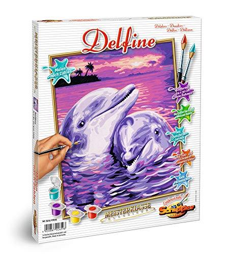 Schipper 609240659 - Malen nach Zahlen, Delfine, 24 x 30 cm