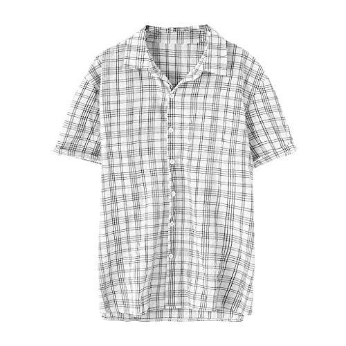 SSUPLYMY Sommer Herren Kurzarm T-Shirt Cooles und Atmungsaktives Einfarbiges Baumwollhemd Knopf Oberteil Männer Vintage Spleißen Leinen Solide Kurzarm Retro T Shirts Tops Bluse