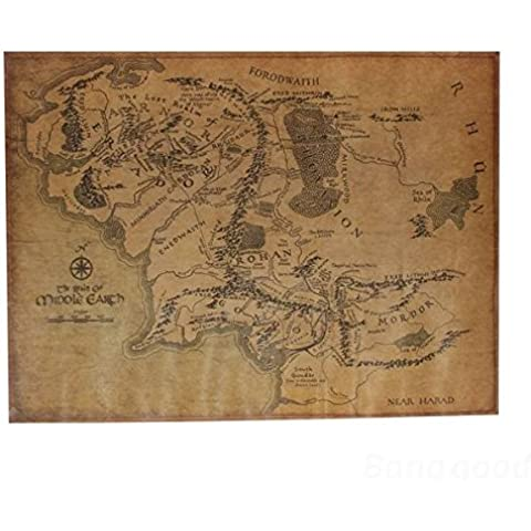[Envio GRATIS] El Señor De Los Papel De Poster Anillo Tierra Media Mapa Retro Kraft // The Lord Of The Ring Middle Earth Map Retro Kraft Paper