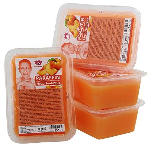 Kosmetex Paraffinbad, Paraffin-wachs mit niedrigeren Schmelzpunkt, Pfirsich Duft, 4x 500ml Pfirsich -