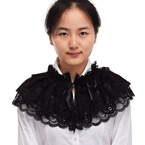 Adult Kostüm Victorian Lolita - BLESSUM Spitze Hals Halskrause Halsband Weiß (Schwarz) (Black)