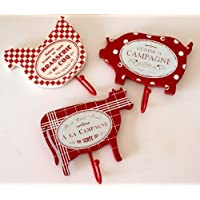 Hooks - Set of 3 Wooden Animal Mix Hooks in Red - Chic & Shabby Style French Wording - Hen - Cow - Pig - Set of 3 for Kitchen or Bedroom