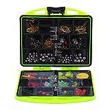MAGT 24 Fächer Angelköder Kit | Angelwerkzeug Set-Tackle Box Voll Beladen Lure-Köder Haken Sinker (Farbe : Grün)