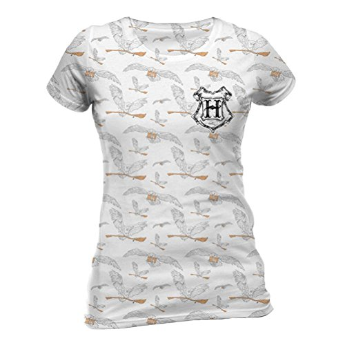 Harry Potter Offizielle Damen Damen Eule Post und Hedwig Sublimated T-Shirt