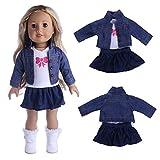 Gaddrt Puppenkleider Kleidung Zubehör Spielzeug Jeans Mäntel dreiteiliger Anzug für 18 Zoll Unsere Generation for American Girl Doll