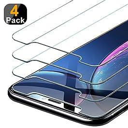 [4 Pezzi] Beikell Pellicola Protettiva in Vetro Temperato Compatibile con iPhone 11, iPhone XR 6.1″, Durezza 9H, Anti graffio, Senza Bolle, Alta Definizione, Facile da Pulire
