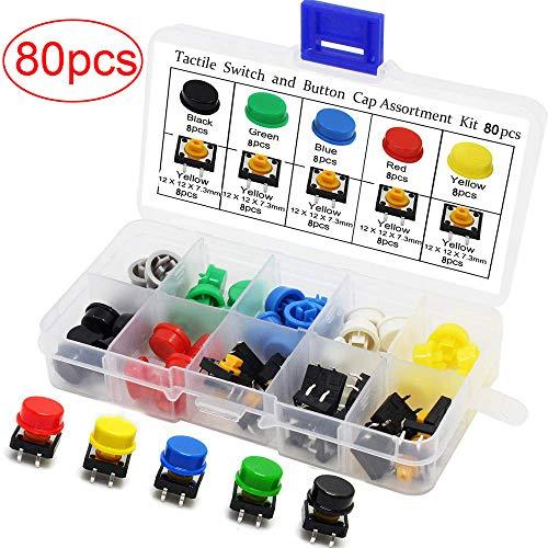 80 pcs Tattile Pulsante Interruttore,micro interruttore momentanea,Tact Switch Momentary,interruttori touch e microinterruttori a 4 pin SMD PCB, con tappi, 12 x 12 x 7,3 mm