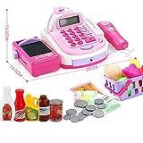 Enfants caisse enregistreuse faire semblant de jouer dans un supermarché jusqu'à des jouets avec calculatrice, scanner de travail, carte de crédit, aliments pour jouer, balance électronique, argent, e...