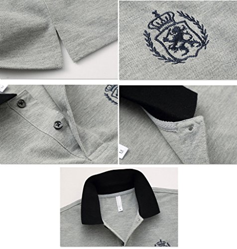 BICMART Herren Poloshirt Grau