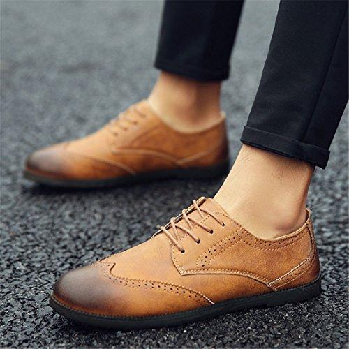 HENGJIA Herren Freizeitliche Arbeitsschuhe Klassischer Schnürhalbschuh Oxford-Schuh C16 Gelbbraun