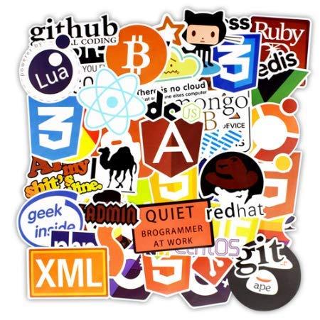 YLGG Programmiersprache Aufkleber Internet HTML Software wasserdichte Aufkleber für Geek Hacker Entwickler zu DIY Laptop Telefon Auto 100st