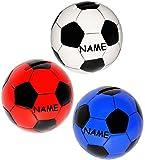 Unbekannt 1 Stück _ Spardose -  Fußball / Ball - bunt  - incl. Name - stabile Sparbüchse aus Keramik / Porzellan - Ballform groß - Jungen Ballsport / Ballspiel - Lede..