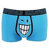 Smiley World Blue Friend lustige Boxershort Unterhose Pant Underwear Geschenk für Herren, Jungen, lustig witzig frech blau Smiley 95 % Baumwolle (L)