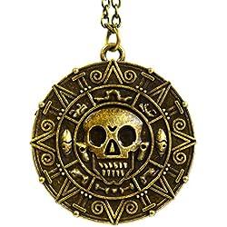 Medallón para pulsera o collar con forma de calavera.