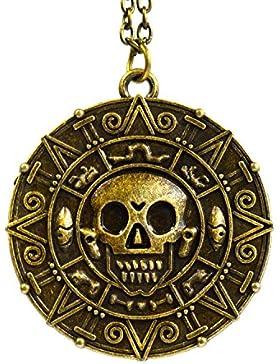 Bronze-Pirates of the Caribbean Azteken-Medaillon-Anhänger mit Totenkopf-Kostüm Halskette