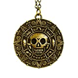 Bronze - Pirati dei Caraibi Aztec Coin cranio Medallion fascino Fancy Dress collana