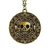 Bronce - monedas de piratas del Caribe Aztec Medallion para pulsera collar con colgante en forma de calavera para vestidos Fancy