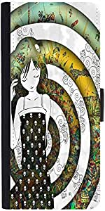 Snoogg Girl On A Coloful Pattern 2779 Designer Protective Phone Flip Case Cover For One Plus X