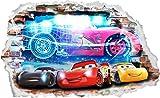 Interpaw Autos 3D Cartoon Smashed Wandaufkleber für Schlafzimmer Jungen und Mädchen Wandbild Aufkleber Größe: Groß 93 cm X 57 cm