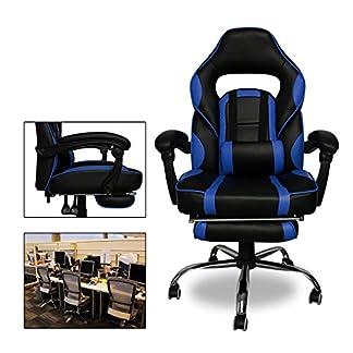 HG® Office – Silla giratoria – Silla para juegos, Premium Comfort – Apoyabrazos acolchados Silla de carreras Capacidad de carga 200 kg Altura ajustable negro / azul