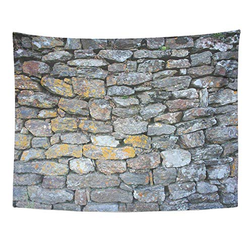 Liumiang Wandteppiche Wall Hanging Exotic Gray Abstract Stones Aging Black Building Bumpy Close Countryside Detail Tablecloth Tapestry for Bedroom Living Room Dorm 60x80 Inches Wall Art Custom -