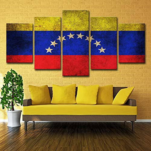 Druck Leinwand Moderne Rahmen 5 Panel Venezuela Flagge Wandkunst Bilder Vintage Dekoration kein rahmen M: 10X15-2P10X20-2P10X25-1P