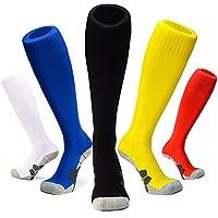 J&T Unisex Youth Teenage Football Athletic Socks Knee High Men and Women Anti Slip Football Sports Socks Pack Cotton Light Quick-drying