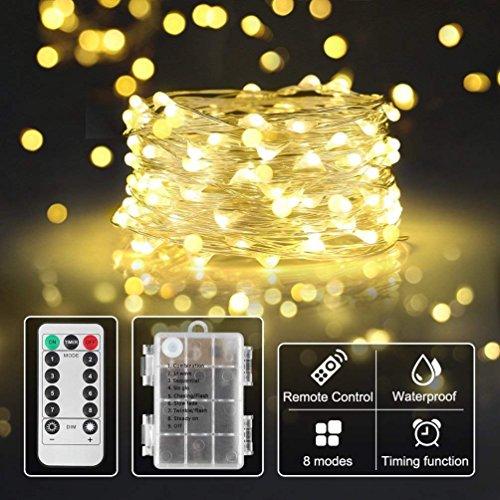 lichterkette mit batterie warmweiß,Timer-Fernbedienung und IP65 Wasserdicht für Party, Garten,Hochzeit[10M]