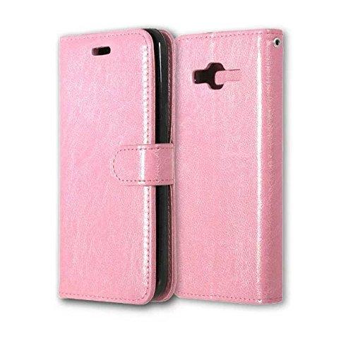 EKINHUI Case Cover Solid Color PU-Leder-Kasten mit Silikon-Abdeckung Magnetic Ständer-Fall-Abdeckung für Samsung-J3 2016 J320 J36 ( Color : Rose , Size : Samsung J3 2016 J320 J36 ) Pink