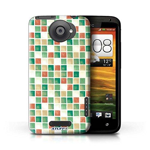 Kobalt® Imprimé Etui / Coque pour HTC One X / Vert/Brun conception / Série Carreau Bain Vert/Rouge