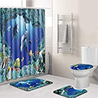3 CLife Bettwaren 3D Cuarto de baño Ducha 4 Pieza Juego bajo Agua Mundo  Patrón Cortina 3c98bffa66f7