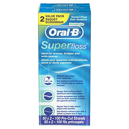Oral B Super Floss Pre-Cut Strands, Mint, 50 Count, Twin Pack