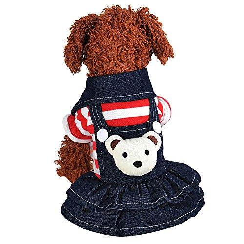 Eizur Cane Gatto Strisce Vestito Jeans Vestiti Tute Caldi Orso Pettorina Abbigliamento Costumi Puppy Cappotto Autunno Inverno Giacca per Animale Domestico Taglia L - Rosso