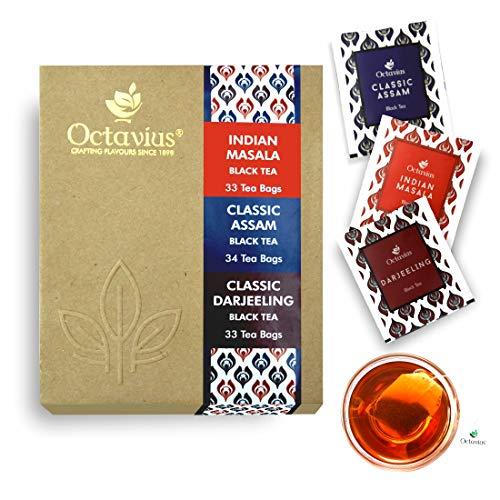 Octavius Envelopes Tea Bag Assortment of 3 Black Tea Flavors (Classic Assam, Classic Darjeeling & Indian Masala) - Economy Pack of 100 Teabags - 200 gm (7.05 OZ) - Abt Tee