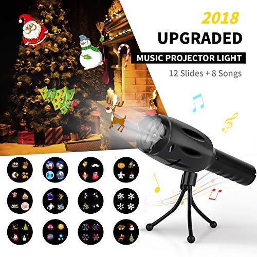 Elindio LED-Projektor, 8 Songs, batteriebetrieben, 12 Dias, dekorative Lichter & Handtaschenlampe für Kinder, Weihnachtsgeschenk, Party, Geburtstag, Weihnachten, Halloween.