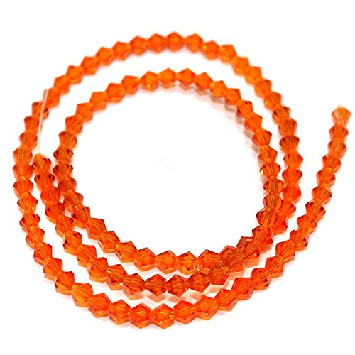 Beadsnfashion Crystal Faceted Bicone Beads Trans Orange, Size 4 mm, Pack of 200 pcs for Jewellery Making