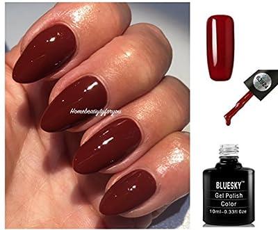 Bluesky 63924 Rust Red Brown Autumn Winter Nail Gel Polish UV LED Soak Off 10ml PLUS 2 Luvlinail Shine Wipes